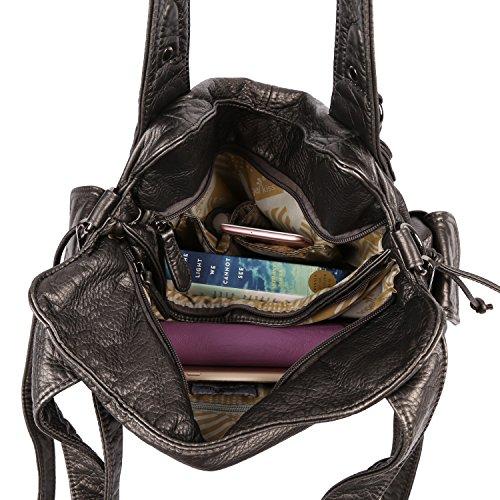 con chiusura 2 chiusura multi spalla donna borse in Peltro tracolla lavata 1555 Borse pelle a cerniera tasca Angelkiss Epq5p