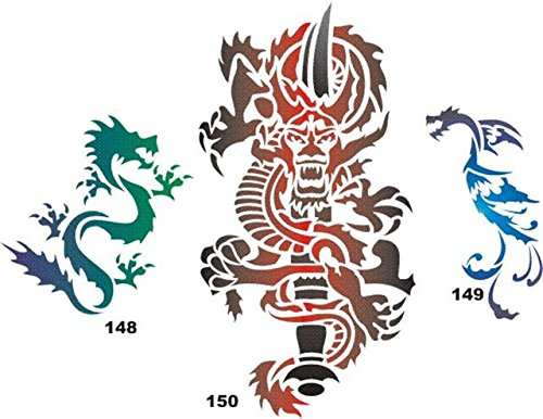 Airbrush Temporary Tattoo Stencil Template Set 28 Dragons...