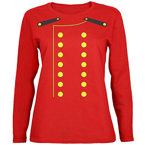 Halloween Hotel Bellhop Costume Womens Long Sleeve T Shirt Red LG