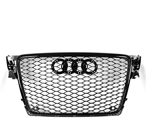 ZMAUTOPARTS 2009-2012 Audi A4 / S4 B8 8T RS5 Style Honeycomb Mesh Hex Grille Gloss ()
