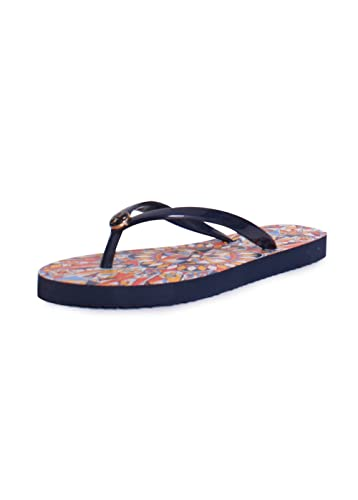 Tory Burch Designer Shoes, Thin Tory Navy and Psychedelic Geo Flip Flop