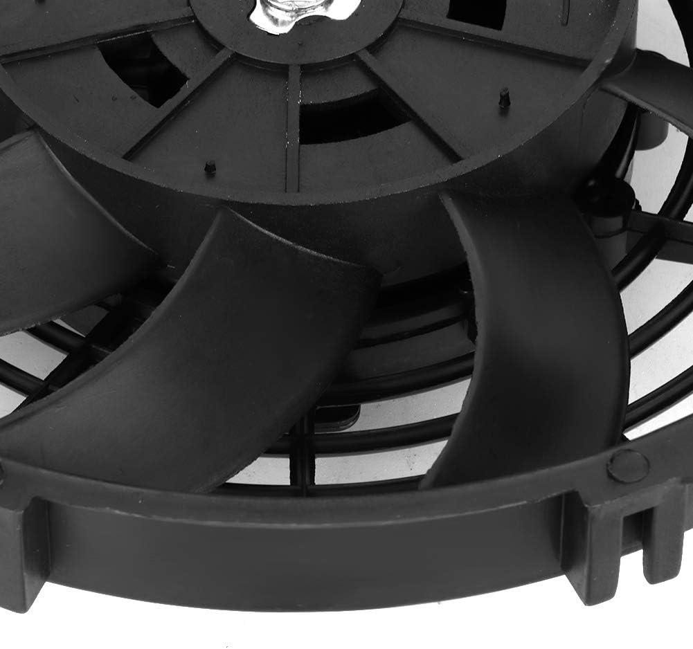 24V 9  ABS Universal Aire acondicionado de cuchilla curvada Aire acondicionado Condensador Ventilador de enfriamiento el/éctrico Ventilador de refrigeraci/ón del coche