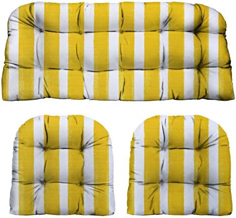 RSH D cor Indoor Outdoor Decorative 3 Piece Tufted Love Seat/Settee 2 U-Shaped Chair Cushion Set