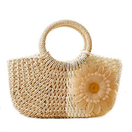 DELEY Damen Lässige Sonnenblume Stroh Gestrickte Strand Beutel Handtasche Meer Urlaub Hobo Bag Beige 3Yimn3