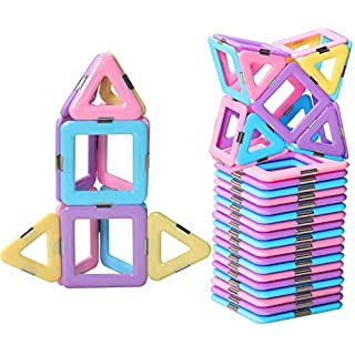 DEJUN Magnetic Building Blocks Educational Magnet Construction Toy Set Playset Child Brain Development Stacking Gifts (30 PCS)