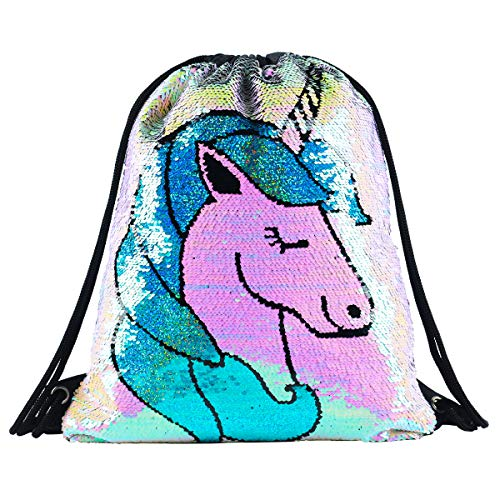 Unicorn Mermaid Sequin Drawstring Backpack Glittering Outdoor Shoulder Bag,Magic Reversible Glitter Sports Backpack Bag Dance School Bag Girls Women Kids(DB-UnicornStyle)