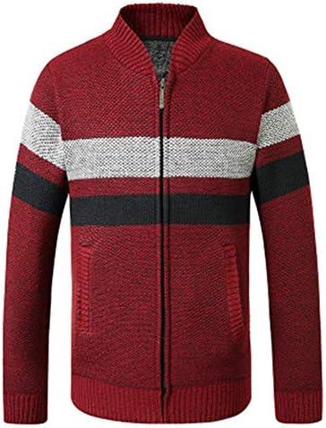 秋と冬の 若者たち 男性 ストライプ 立ち襟 長袖 ジッパー カーディガン セーターコート