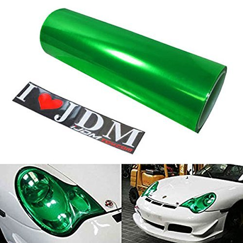 12 by 48 inches Self Adhesive Emerald Green Headlights, Tail Lights, Fog Lights, Sidemarkers Tint Vinyl - Green Tint Of