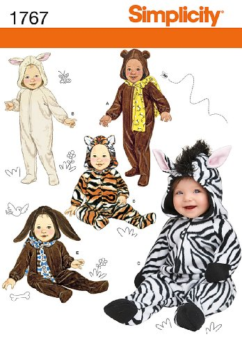 [Simplicity 1767 Toddler's Animal Costume and Hat Sewing Pattern, Size A (XS-S-M-L), For Up to 18] (Four Group Costumes)