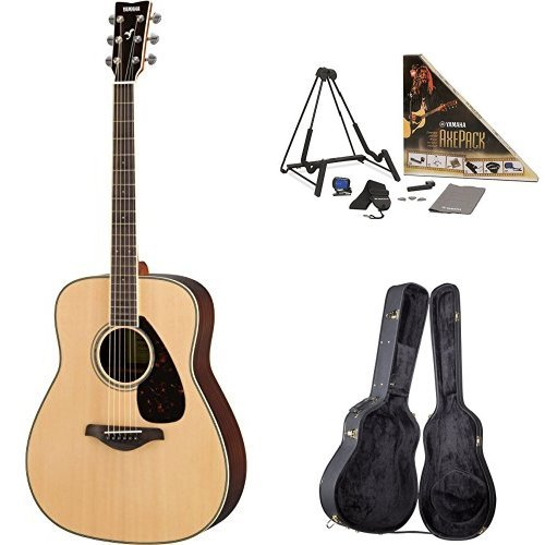 Yamaha FG830 Acoustic Guitar, Natural, with Yamaha Guitar Case and Accessories Pack