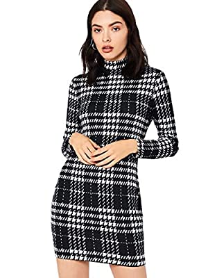 SheIn Women's Casual Mock Neck Long Sleeve Plaid Pencil Mini Party Bodycon Dress