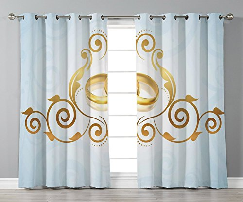 Satin Grommet Window Curtains,Wedding Decorations,Vintage Style Victorian Ornaments on Blue Backdrop Rings Classical,Light Blue Gold,2 Panel Set Window Drapes,for Living Room Bedroom Kitchen Cafe