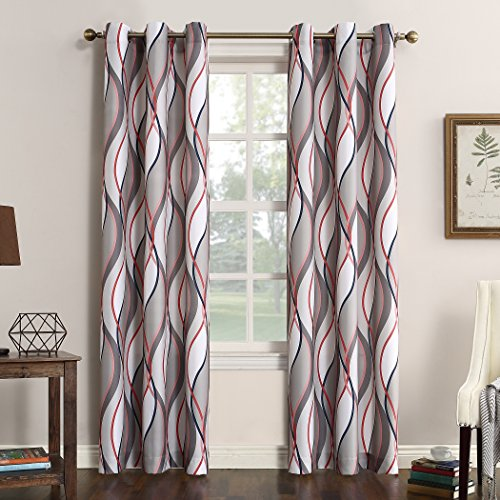 "Sun Zero Intersect Wave Print Casual Textured Curtain Panel, 48"" x 95"", Nickel Gray"