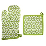 Pot Holder And Oven Mitt Set, 100% Cotton, Set of 1 Oven mitten of Size 7''X12 Inch & 1 Potholder of Size 8''X8 Inch, Eco - Friendly & Safe, Green, The Hive in Lime Design for Kitchen
