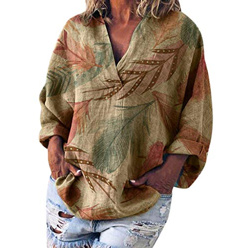 Linen Tee Shirt Women Loose V Neck Leaves Print Basic Long Sleeve Top