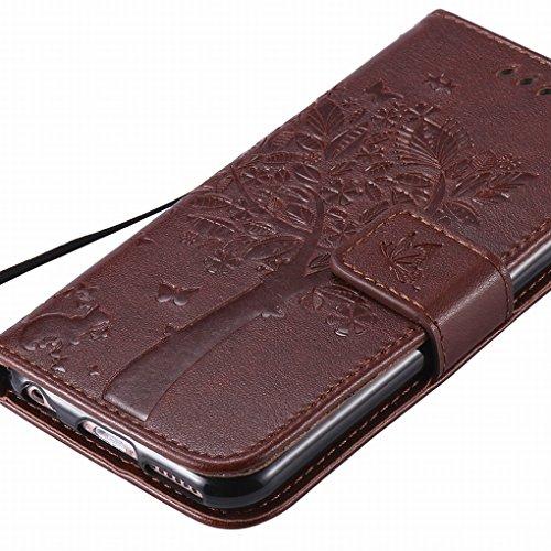 Custodia Apple IPhone 6 Plus / IPhone 6s Plus Cover Case, Ougger Alberi Gatto Printing Portafoglio PU Pelle Magnetico Stand Morbido Silicone Flip Bumper Protettivo Gomma Shell Borsa Custodie con Slot