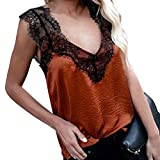 Women Summer Chiffon Sleeveless Lace Mesh Loose Vest V-Neck Cami Soft Tank Top (Brown, S)