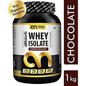 Abbzorb Nutrition Whey Isolate -1 kg (Chocolate Flavour) with Digestive Enzymes