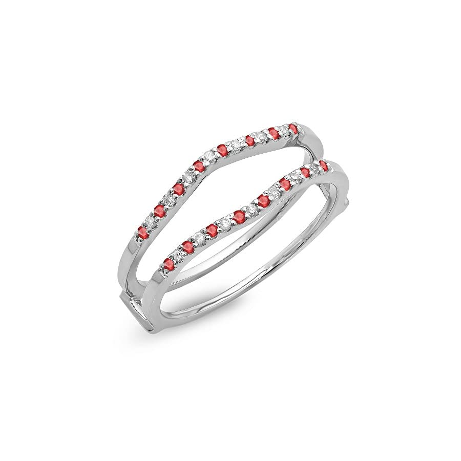 Dazzlingrock Collection 14K Gold Round Ruby Ladies Anniversary Wedding Band Enhancer Guard Double Ring