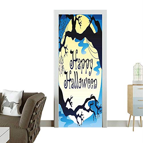 Homesonne Door Sticker Wallpaper Happy Halloween Quote Spooky Night Branch Shadows Haunted Lights Fashion and Various patternW23 x H70 INCH -