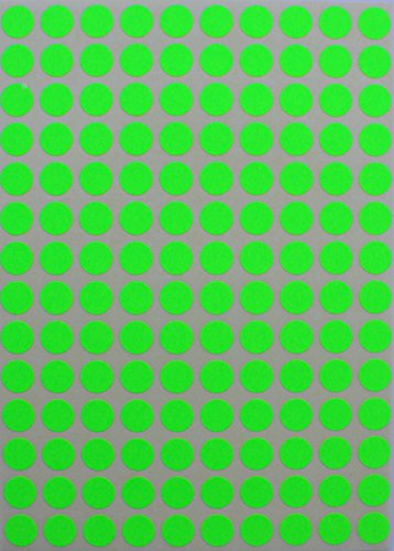 "Round Neon Colour Code Labels 3/8"" (0.375) inches 10mm Circle Dot Stickers - GREEN fluorescent Colors - three eights inch full sheets 700 pack"