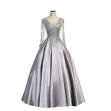 Inmagicdress Silver Long Sleeves Prom Dresses Women Formal Evening Gowns 07 - Silver -
