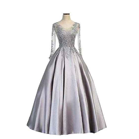 Inmagicdress Silver Long Sleeves Prom Dresses Women Formal Evening Gowns 07
