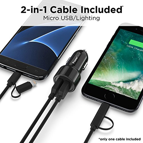 PowerBear-Car-Charger-with-Fast-Charge-24W-48A-Dual-USB-Port-Car-Charger-with-2-in-1-Cable-Smart-ID-Technology-for-iPhone-X-8-7-6-6S-Plus-Samsung-S7-S6-Edge-Plus-More-24-Month-Warranty