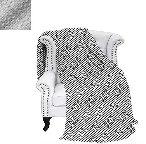 Warm Microfiber All Season Blanket for Bed or Couch Monochrome Classic Curved Line Bands with Diagonal Swirls Optic Effects Graphic Throw Blanket 70