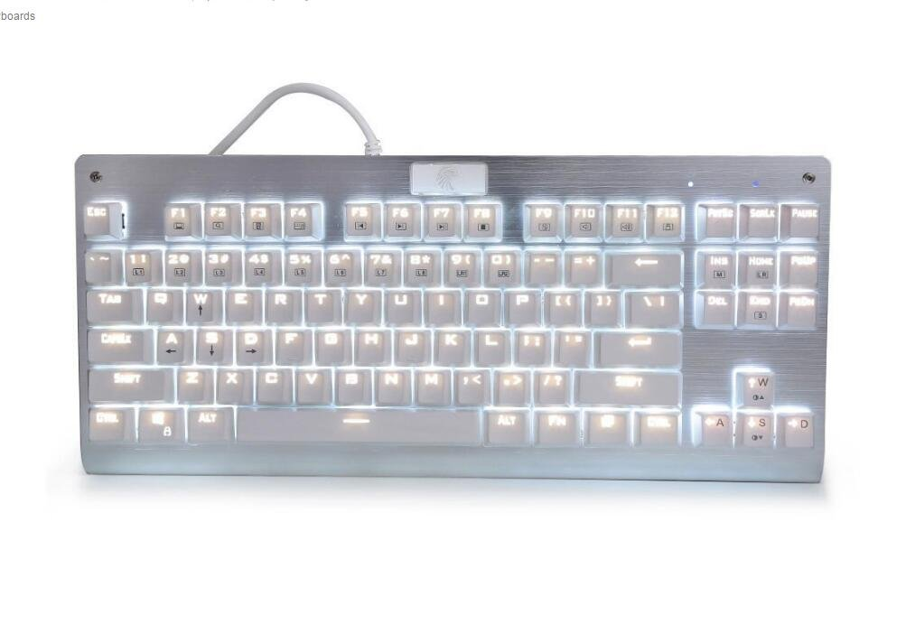 Multicolor LED Backlit with DIY Blue Switches,Tenkeyless 87 Keys Anti-Ghosting for Mac PC White E-Element Z-77 Mechanical Gaming Keyboard
