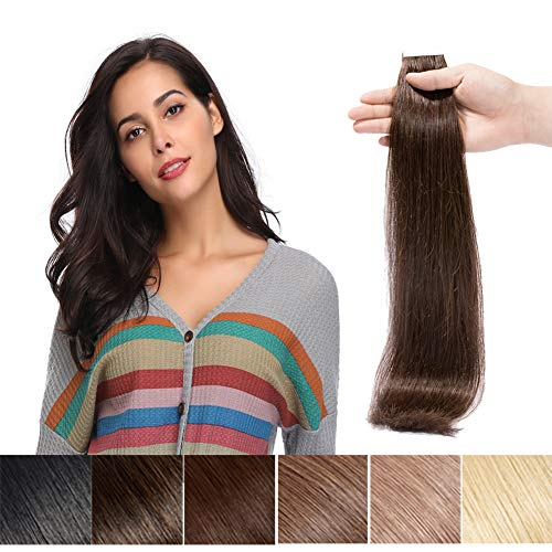 Seamless Remy Tape in Hair Extensions Real Human Hair Dark Brown 16inch Straight Professional Tape on Skin Weft Hair Extensions (16