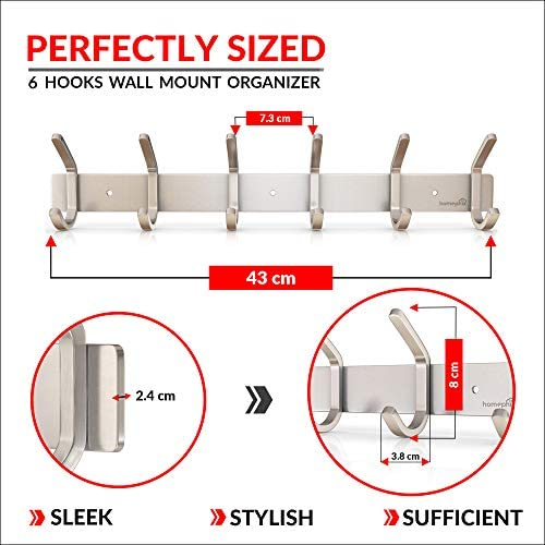 Homephix Heavy Duty Coat Hooks for Wall Mounted | Stainless Steel Hanger Rack Holder for Clothes, Hats, Robes, Towels (6 Hooks)