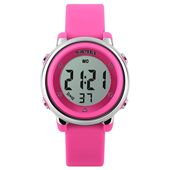 FEIWEN Girls Digital Outdoor Sports Waterproof Watch for Children 7 Multicolor LED Backlight 5ATM Water Resistant