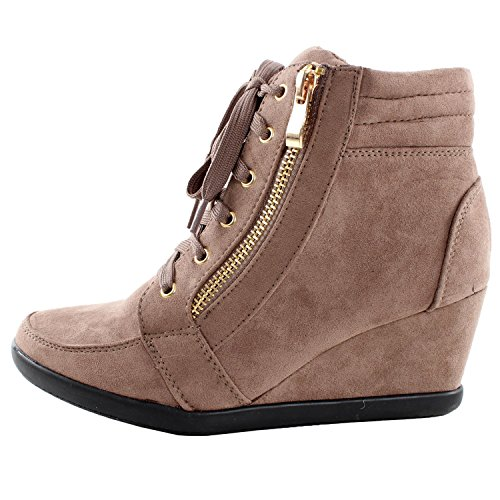 Forever Link Womens Shea-42 Fashion Wedge Sneakers New Taupe gwzlDea