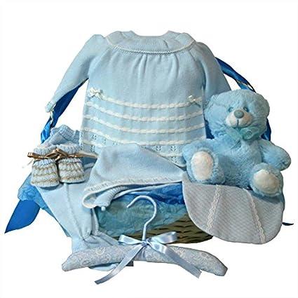Canastilla bebe - Clasica basica azul - cesta de regalo para recien ...