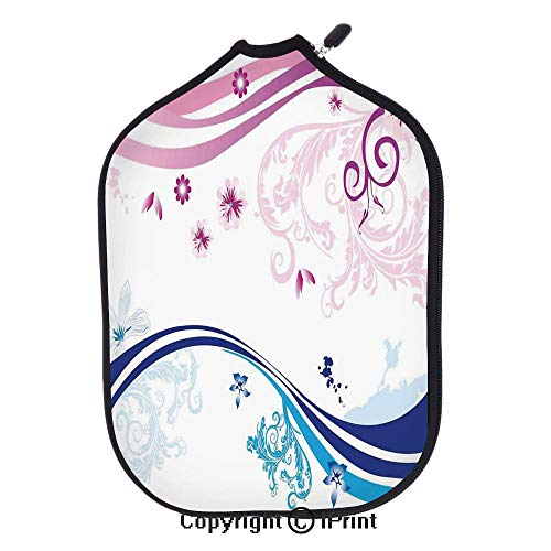 """Soft Neoprene Pickleball Paddle Cover Zipper Sleeve Protective Case,Modern Digital Swirls Ivy Flowers Leaves and White Backdrop Image(size:8.23"""" x 11.4"""")Dark Blue Aqua Pink and Lilac,Fit For Most Pick"""