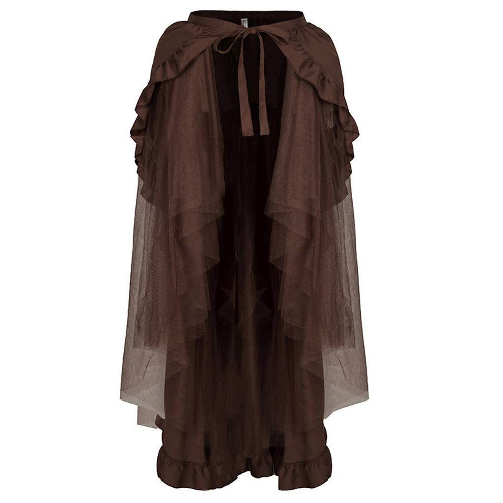 SHUSUEN Steampunk Skirt for Women Lace Asymmetrical Layered Retro High Low Corset Skirt Party Outfits Coffee by SHUSUEN