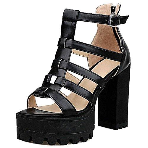 TAOFFEN Black Talons 9 Ete Sandales Femmes Toe Plateforme Peep Hauts Chaussures qTSABwq7xr