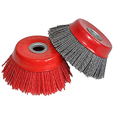 """FPPO 2PCS 4"""" Inch Abrasive Wire Nylon Cup Brush for Angle Grinder, for Cleaning Polishing Deburring"""
