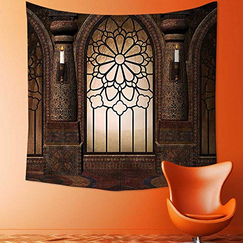 Printsonne Home Decor Collection Illustration of Antique Myst Gate with Oriental Islamic Pattern and Curvings Artistic Tapestry Wall Hanging Art for Living Room Bedroom Dorm Home Decor by Printsonne