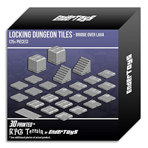 Locking Dungeon Tiles - Bridge Over Lava, Terrain Scenery Tabletop 28mm Miniatures Role Playing Game, 3D Printed Paintable, EnderToys