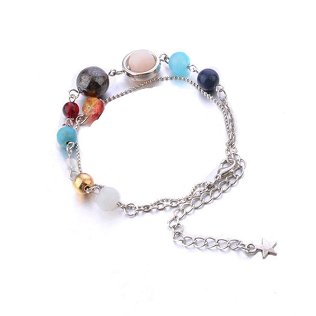 Meolin Exquisite Galaxy Eight Planets Bead Anklet Fashion Double Layer Anklet Set Charming Jewelry Accessories for Women,Silver
