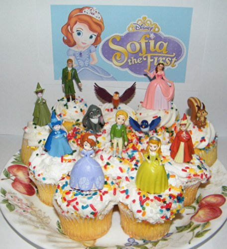 Disney Princess Sophia the First Deluxe Mini Cake Toppers Cupcake Decorations Set of 14 with 12 Figures and 2 Tattoos Featuring Sophia, Amber, James and (Sophia The First Cakes)