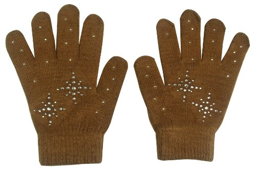 Fashion Every Day Girls Ice Skating Gloves/magic Stretch Gloves with Clear Rhinestones Snow Flakes (Brown) (1 Magic Gloves)