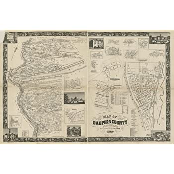 1858 Map of Cumberland County PA from actual surveys Carlisle Shippensburg