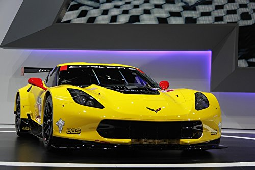 Chevrolet C7R Corvette Right Front 2 Yellow HD Poster Race C