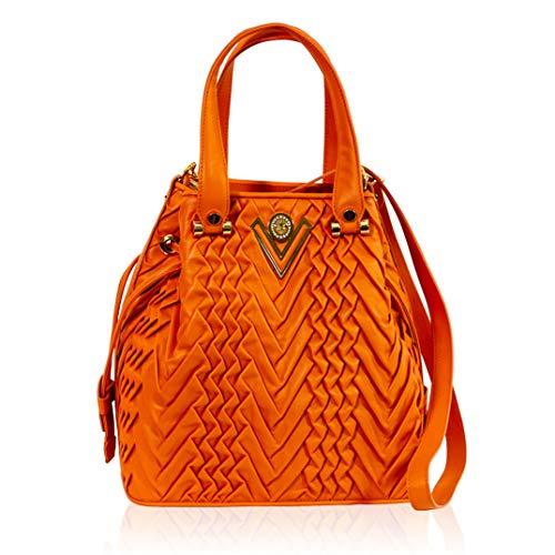 Valentino Orlandi Italian Designer Coral Orange Pleated Draped Leather Bucket Bag