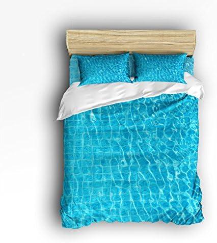 libaoge 4ピースベッドシートセット、ブルー水泳プール水波紋デザイン、1フラットシート1布団カバー、枕カバー2 フル ブルー TK-HILDA-0810