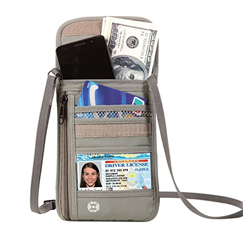 Defway Travel Wallet RFID Blocking Hidden Money Pouch & Neck Passport Holder
