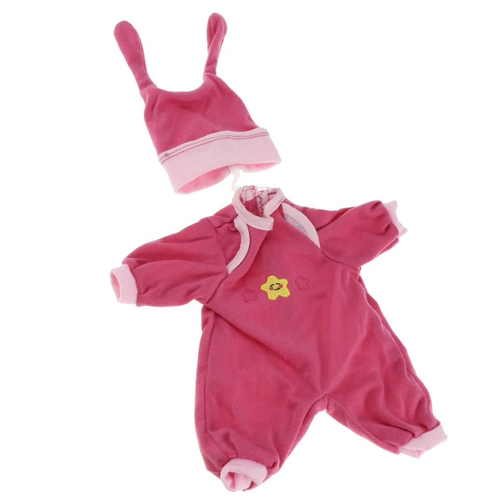 Baoblaze 2 Pieces Clothes Suit for Mellchan Baby Doll 9-11inch Reborn Girl Doll Jumpsuit Hat Casual Outfit